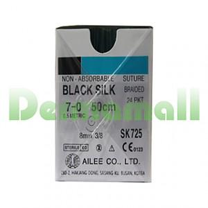 Black Silk 7-0 50cm 8mm 3/8 round (SK725)